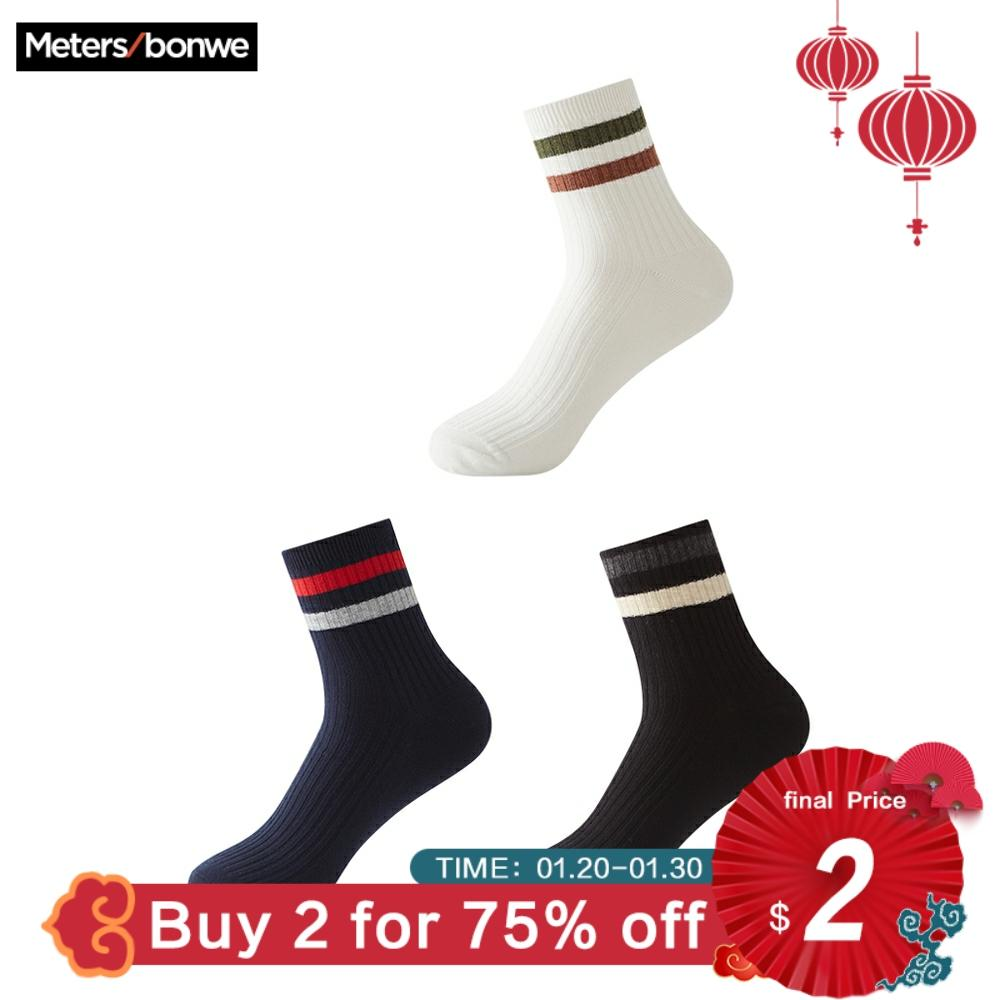 Metersbonwe 3 Pairs/lot Spring Summer Men Cotton Socks For Men's Sports Casual Striped Short Socks Male