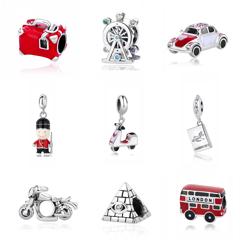 Original 100% 925 Sterling Silver Charm Bead Travel Bus Motorcycle Ferris Wheel Charms Fit Pandora Bracelets Women Diy Jewelry