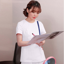 US Size S-4XL Women Fashion Medical Uniforms Short Sleeve Scrub Set Side Opening Front Coat with Hidden Zipper Round Collar