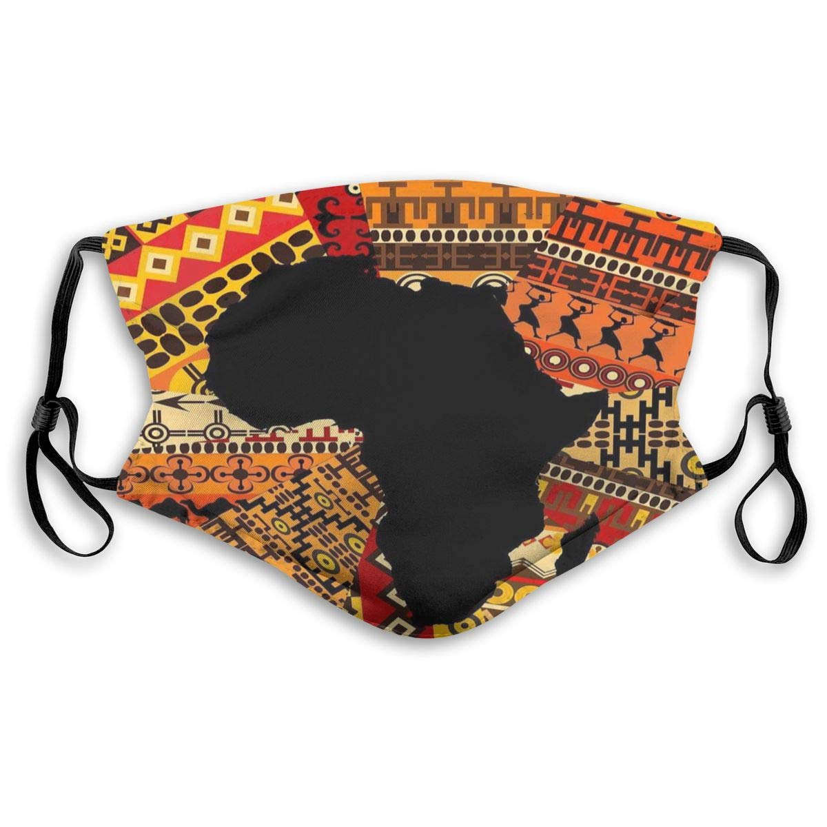 African Map Ethnic Pattern Print Mouth Masks With Filter Washable And Reusable Anti Dust Breathable Mask With Adjustable Ear