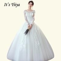 Long Sleeve Wedding Dress It's Yiiya BR740 O neck Crystal Lace Vestido De Novia Elegant Tulle Bridal Gowns White Wedding Dress