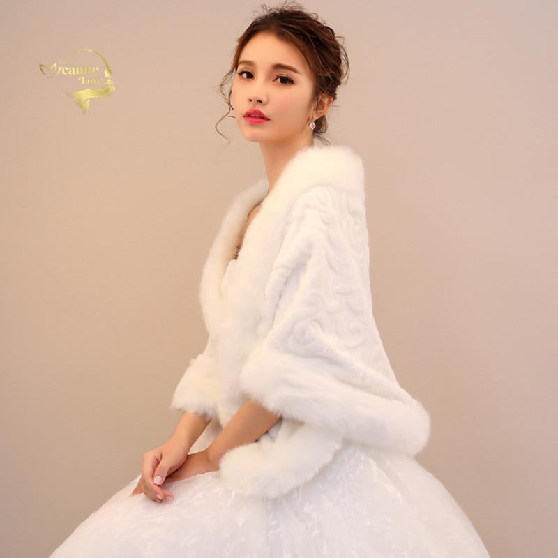 Faux Fur Bridal Shawl Wraps Marriage Woman's Shrug Bride Winter Coat Wedding Party Boleros Jacket Cloak Cover Up Free Shipping