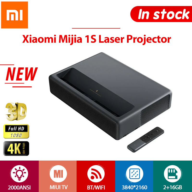 Proyector Xiaomi 4K Full HD Mijia 1S Láser 3D HDR 2GB 16 GB 2000 ANSI Androide Inalámbrico BT Wifi 150 pulgadas ALPD HDMI MIUI TV DVD HDMI, USB, AV, LAN, SPDIF, Audio 1080P, Inalámbrico, HD, Calentador de casa, Láser