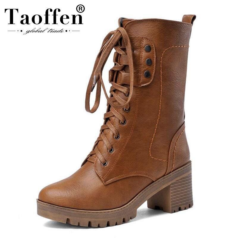 Taoffen 4 Colors Size 34-43 Women Half Short Boots High Heel Boots Cross Strap Warm Shoes Motorcycle Botas For Women Footwear