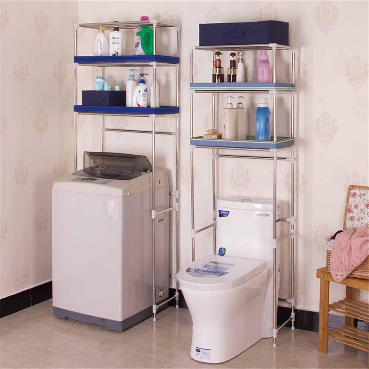 Support en acier inoxydable salle de bain toilette armoire de rangement rayonnage cuisine Machine à laver support espace économiser étagère support organisateur