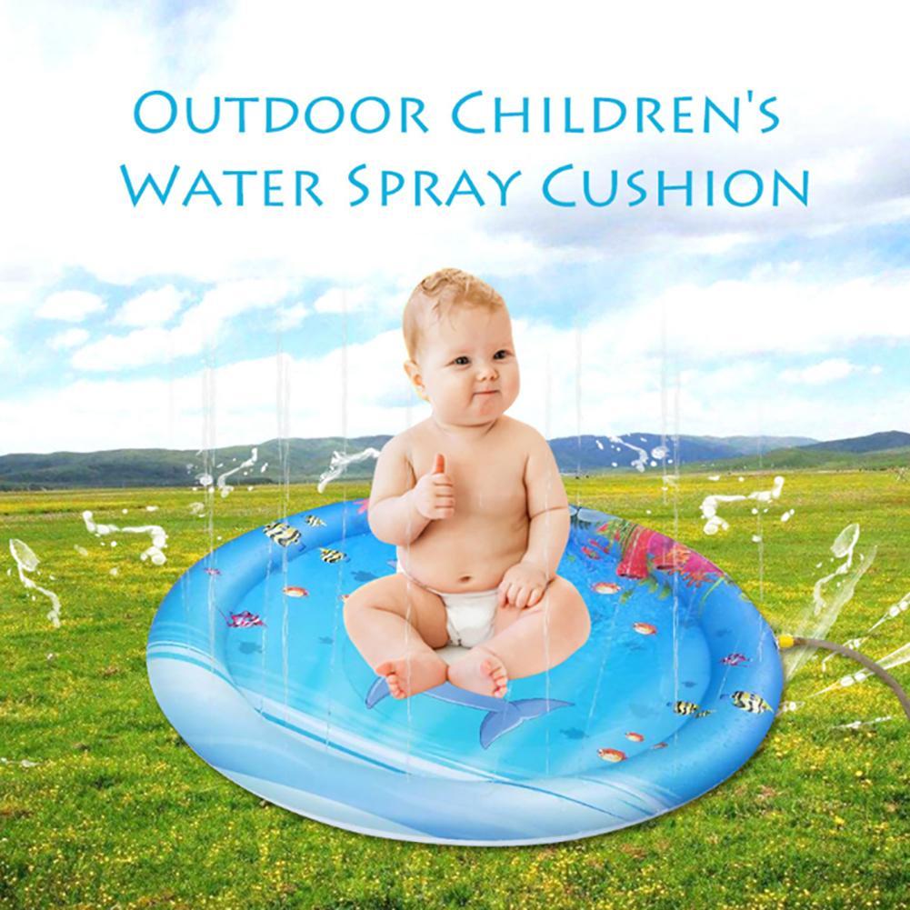 100cm Marine Inflatable Baby Water Pad Outdoor Sprinkler Kids Infants Splash Mat Creativity Dual Use Toy For Beach Pool Gard