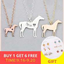 XiaoJing 925 Sterling Silver Horse Personalized Custom Pet Shape and Engrave Name Pendant Necklace for Gift Free shipping