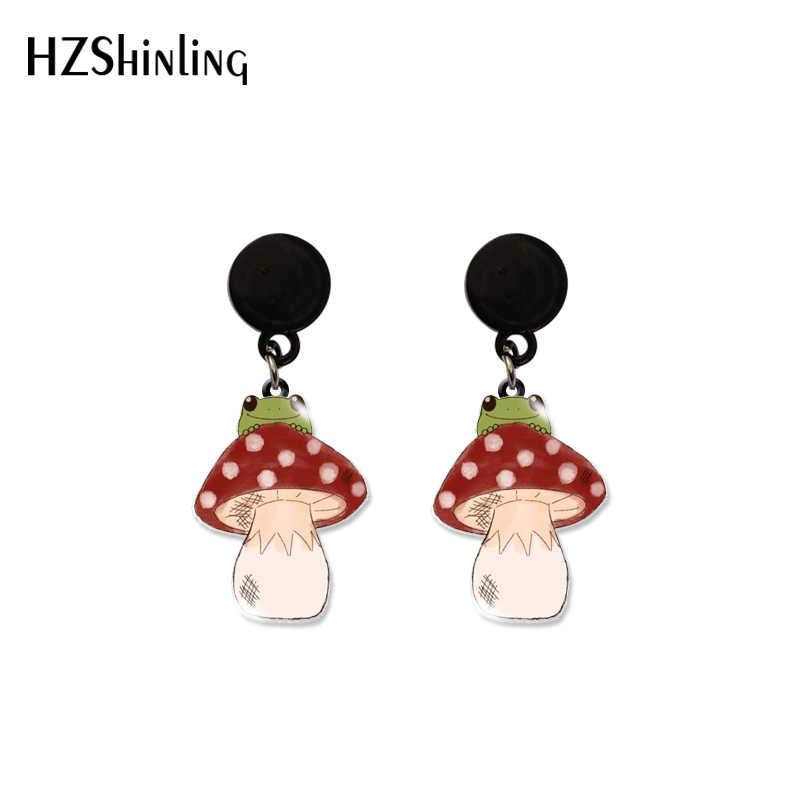 Earrings red and white mushrooms kids fun mushroom babacool fall love child fimo