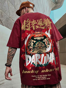 Men's T-Shirts Tees Tops Short-Sleeve Streetwear Hip-Hop Lucky-Printed Chinese-Style