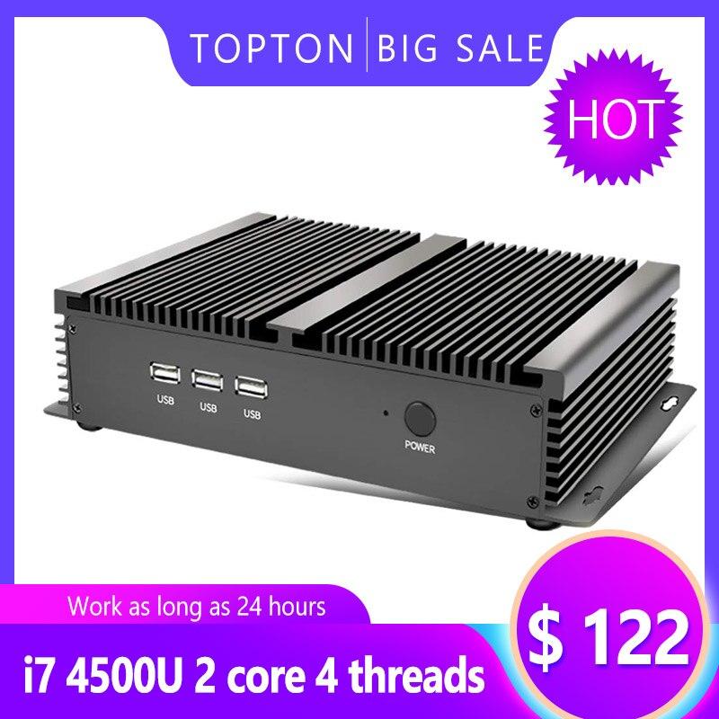 Fanless Industrial Mini PC I7 4500U I5 4200U I3 5005U 24 Hours Working 2*COM HDMI VGA Dual Display 300M Wifi 4K HD HTPC Mini PC