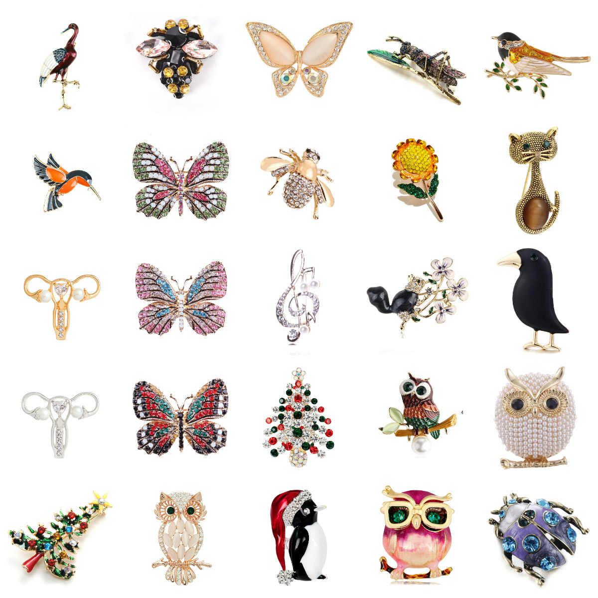 Fashion Cute Burung Parrot Pin Bros untuk Wanita Enamel Pin Crystal Hewan Bayi Burung Bros Pin Perhiasan Natal