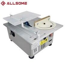 ALLSOME-Mini sierra de mesa T4, torno de banco de carpintería hecho a mano, pulidor eléctrico, amoladora, hoja de sierra de corte Circular DIY