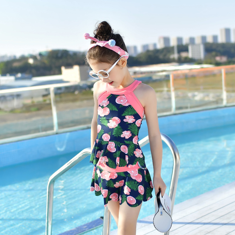 New Products KID'S Swimwear Children Split Skirt-Two-Piece Set GIRL'S Swimsuit Big Boy Sweet Conservative Hot Springs-