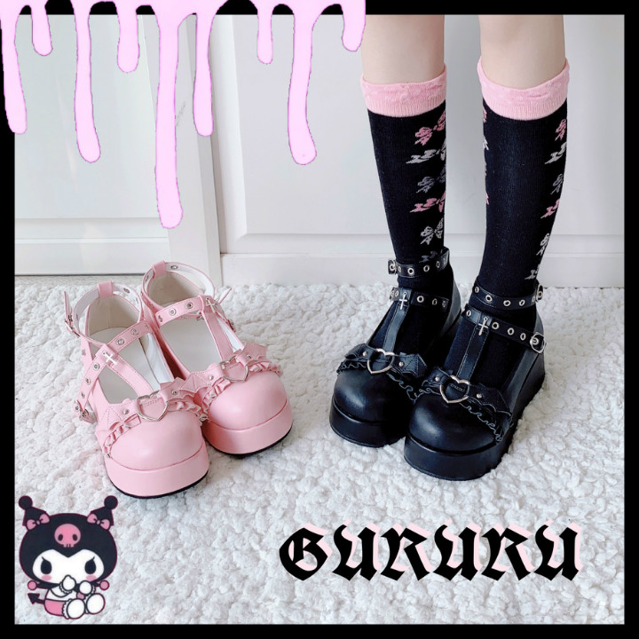 Devilian Series Women Gothic Dark Girl Cosplay Devil Wings Shoes Retro Harajuku Sweet Lolita Princess Platform Shoes Students
