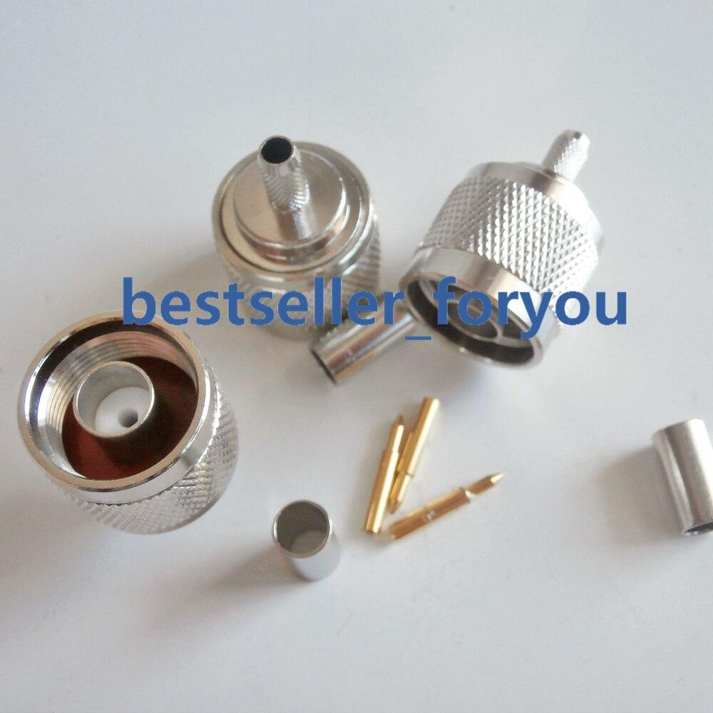 N tipo rf conector coaxial 50-3 n-tipo macho conector friso para rg58 rg142 rg400 lmr195 cabo frete grátis