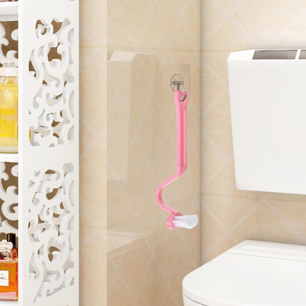 1PC High Quality S Type Plastic Corner Bending Cleaning Accessories Practical Bathroom Brush Kitchen Brush Toilet P5O4