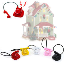 1:12 Dollhouse Miniature Furniture Scene Multicolor Metal Phone Pretend Play Doll Houses Mini Retro Telephone For Children Gifts(China)