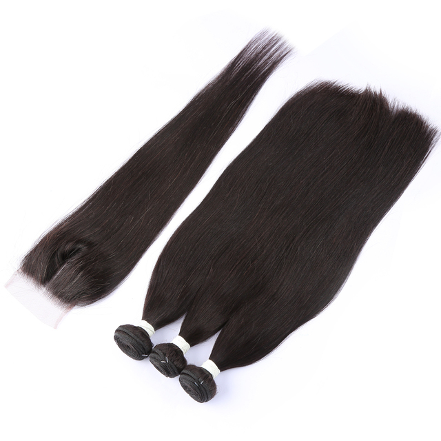 Linksbeauty recto 8-28 30 32 40 pulgadas, pelo brasileño 3 4 mechones de tejido con 4X4 de cierre de encaje Frontal Remy pelucas de cabello humano