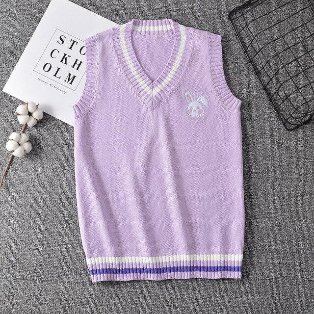 Japanese JK Sweater vest solid color cute cosplay pullover Girl school vest Rabbit cute little animal purple blue pink 3