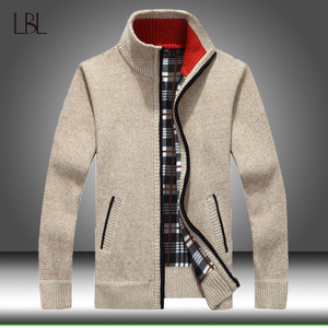 Winter Thick Men's Knitted Sweater Coat Zipper Long Sleeve Cardigan Fleece Full Zip Male Causal Plus Size Clothing for Autumn
