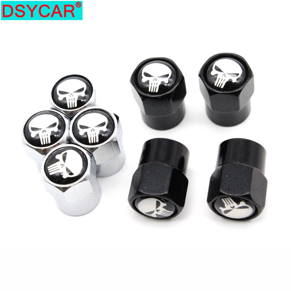 DSYCAR 4 Pcs/Set Car Styling Aluminium Alloy/Copper Skull Logo Car Tire Valve Caps Wheel Tires Tire Stem Air Cap Airtight Covers