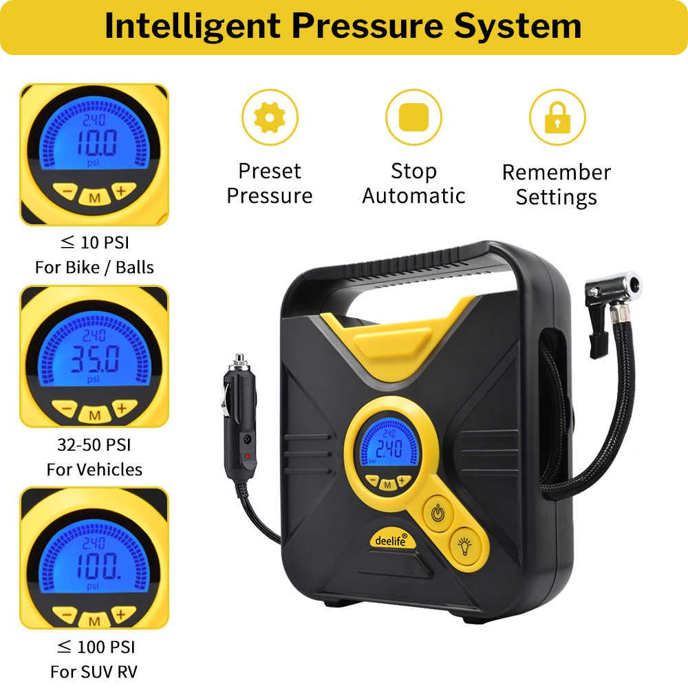 12V Portable Digital Pompe de gonflage de Pneu de Voiture Compresseur dair /électrique 100 PSI pour Voiture V/élo Ball Gonfleur de Pneu de Voiture