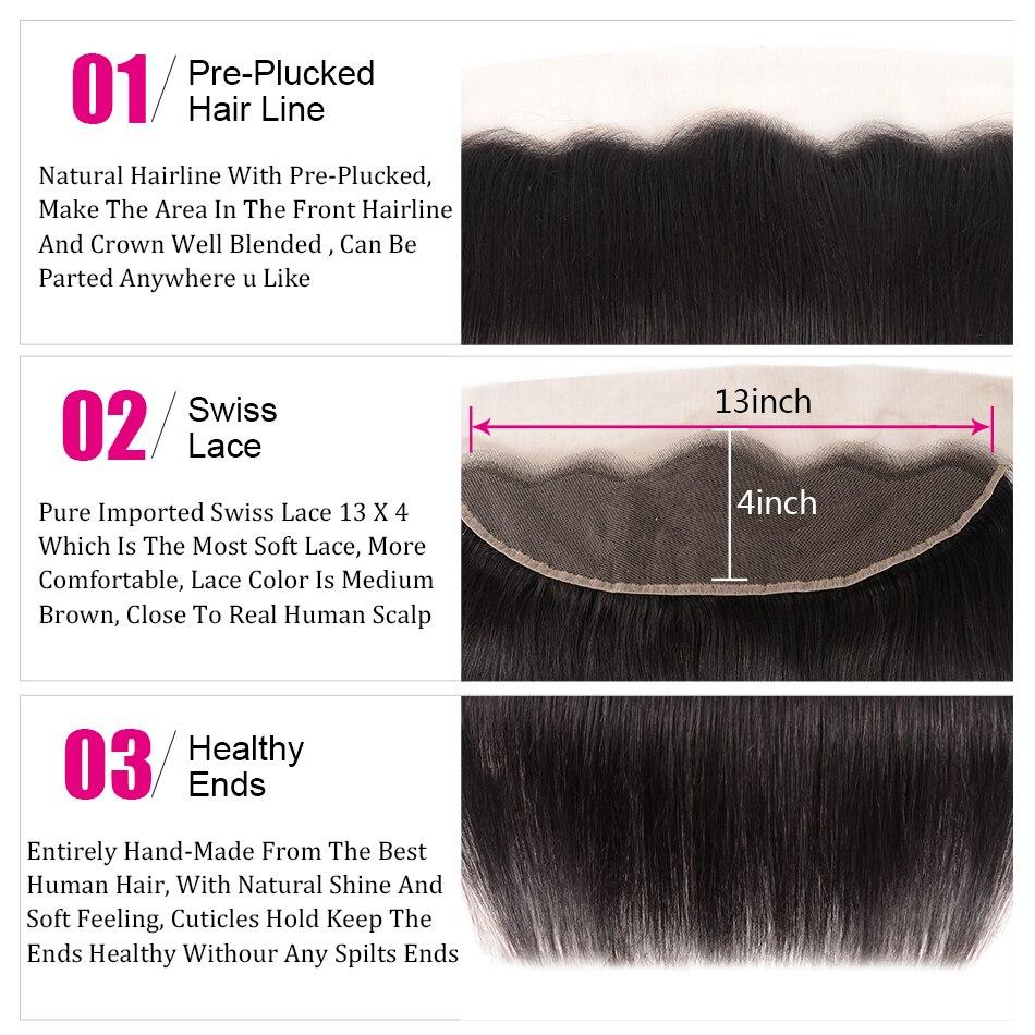 UNice Hair Icenu Series Remy Hair Malaysian Straight Hair Lace Frontal 13