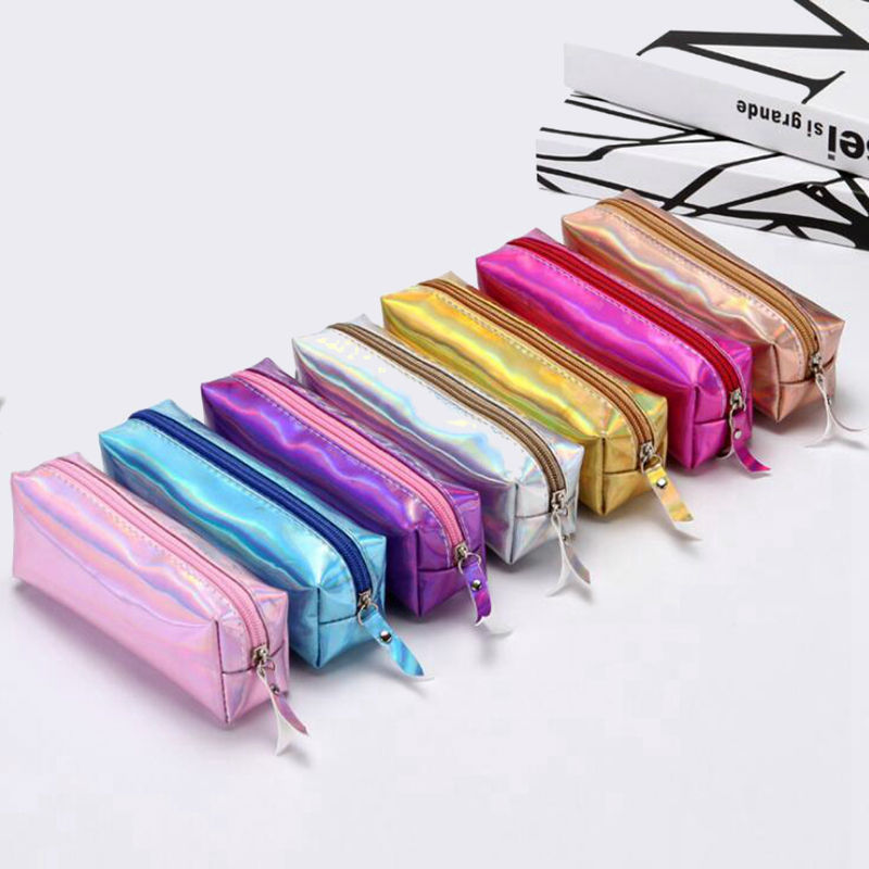 Iridescent Laser Pencil Case For Girls Boy PU School Supplies Stationery Gift Pencilcase School Cute Pencil Box School Tools