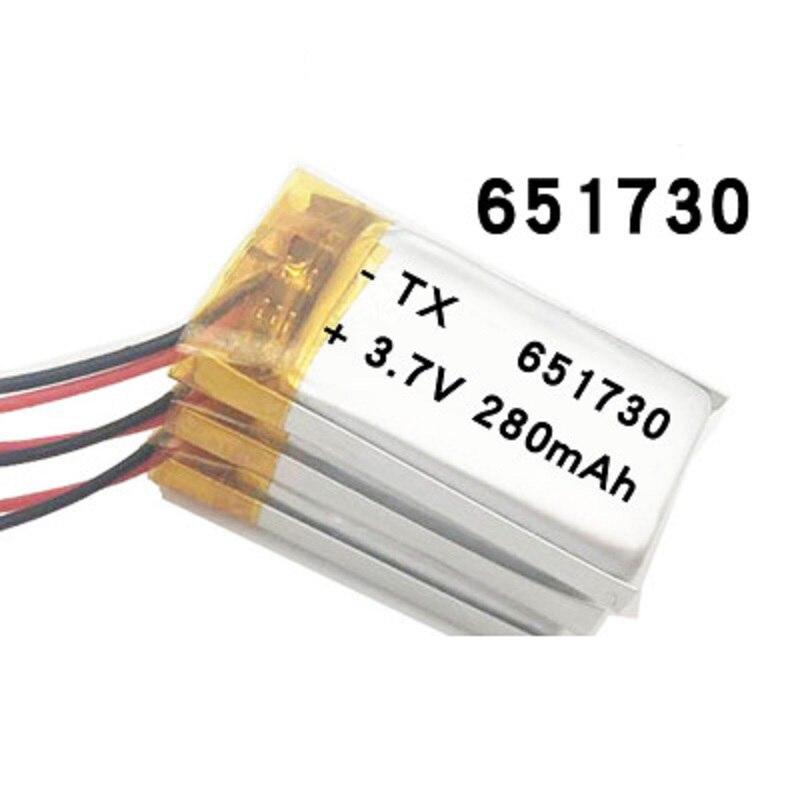 3,7 v литий-полимерный аккумулятор 651730 280MAH маленькие игрушки MP3 MP4 GPS навигация Мобильная мощность