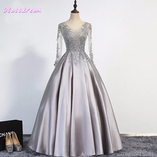 цена на Silver Satin Prom Dresses Long Sleeves BEeading Sequines Appliques Top Floor Length V-neck Lace-up вечернее платье Evening Dress