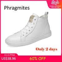 Phragmites White High Upper Cow Leather Shoes Korean 47 Big Size Men Shoes Fashion Summer Mesh Sneakers Zapatos De Hombre