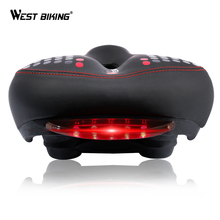 WEST BIKING Bicycle Saddle with Tail Light Thicken Widen MTB Bike Saddles Soft Comfortable Hollow Cycling