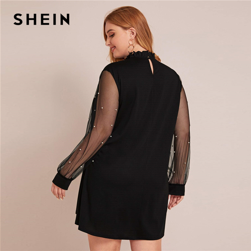 SHEIN Plus Size Tie Front Frill Trim Mesh Panel Tunic Dress Women Spring Pearls Beaded Stand Collar Elegant Mini Cute Dresses 2