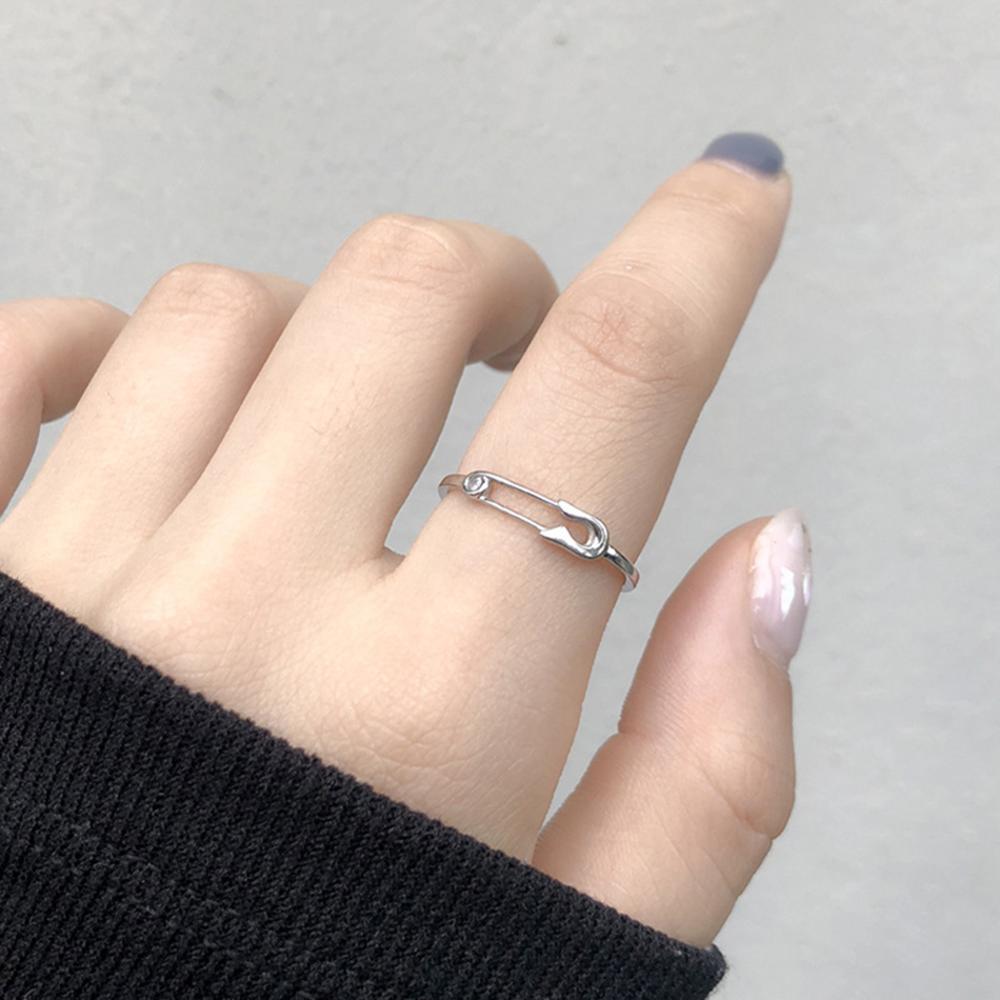 Новинка креативное циркониевое серебряное кольцо с булавкой клипса для бумаги регулируемое кольцо для женщин модные ювелирные изделия веч...