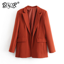 Women chic black Suit blazer pockets long sleeve office wear