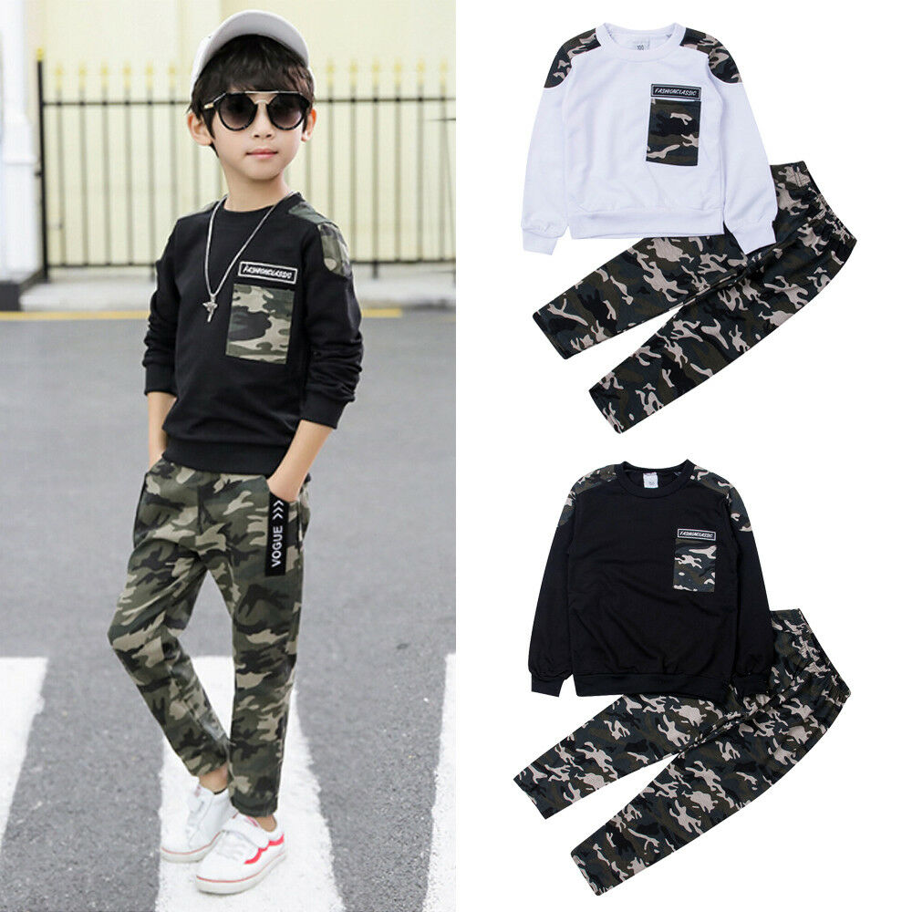 Pudcoco 2-9Y Brand NEW Toddler Kids Baby Boy Clothing Set Pocket Pullover Tops Camo Pant Outfits Tracksuit Long Sleeve Outfits
