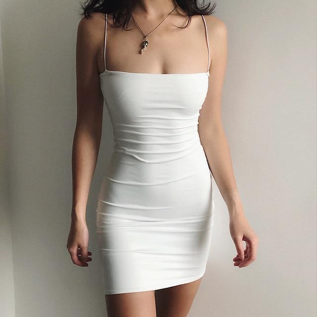 White Sexy Dress Women Spaghetti Strap Dresses Female High Waist Sheath Club Dress Short Summer 2020 Mini Sleeveless Vestidos 2