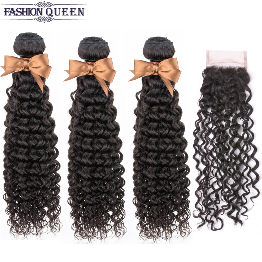 Peruvian Human Hair Bundles With Closure  3 Bundles Kinky Curly Non Remy Hair Weave Bundles With Closure Fashion Queen