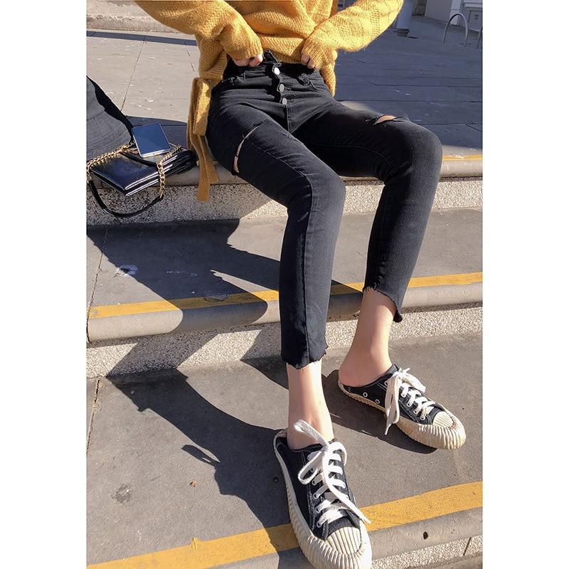 Mishow Autumn Winter 2019 Women's Hole Long Jeans Fashion Casual High Waist Skinny Jeans Women Pencil Black Pants MX19C2368