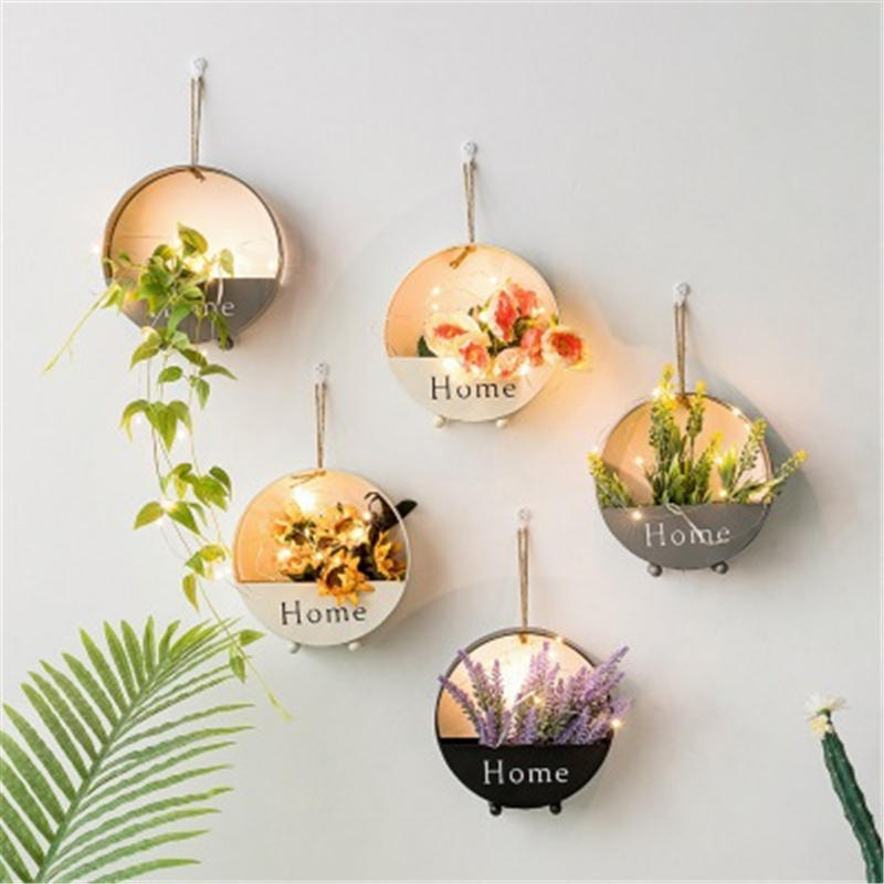 Nordic INS Metal Decorative Hanging Shelf Round Pastoral Floating Shelf Home Wall Decor Flower Plant Potted Ornament Stand 1 PC