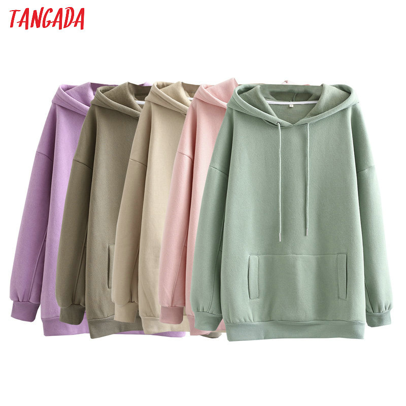 Permalink to Tangada 2020 autumn winter women fleece cotton hoodie sweatshirts oversize ladies pullovers pocket hooded jacket SD60-1