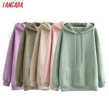 Tangada-Sudadera de algodón con capucha para mujer, chaqueta de gran tamaño con bolsillo y SD60-1, otoño e invierno, 2020
