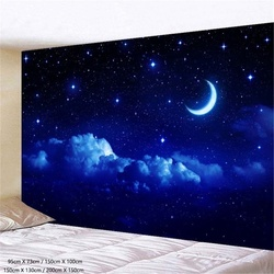 Гобелен настенный с Луной и звездами, голубой гобелен в виде звездной Галактики, с изображением вселенной, с ночным небом, для спальни, гости...