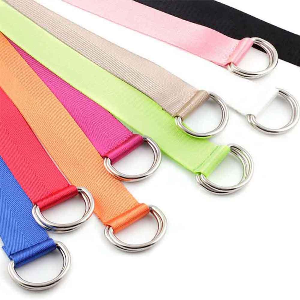 1 PC Women Men Belt Solid Color Fashion Unisex Nylon Canvas Waist Belts Double Ring Buckle Adjustable Long Belt Accessories