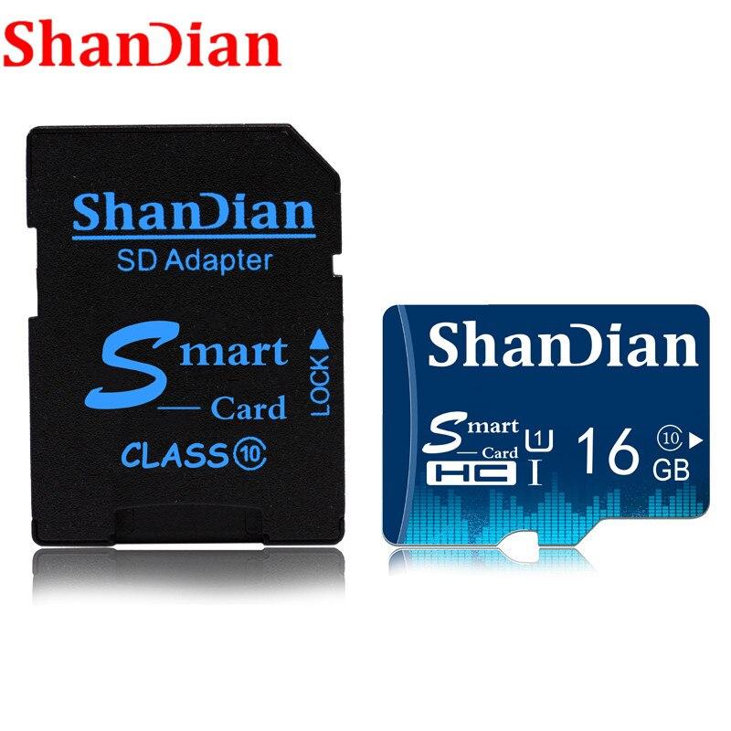 SHANDIAN Memory Card 128GB 64GB 32GB Smast Sd Card 16GB 8GB Class10 Flash Card Memory Smastsd For Smart Phone/Tablet Free Ship