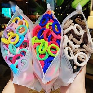 50/100pcs/Set Girls Colorful Nylon Small Elastic Hair Bands Children Ponytail Holder Scrunchie Headband Kids Hair Accessories