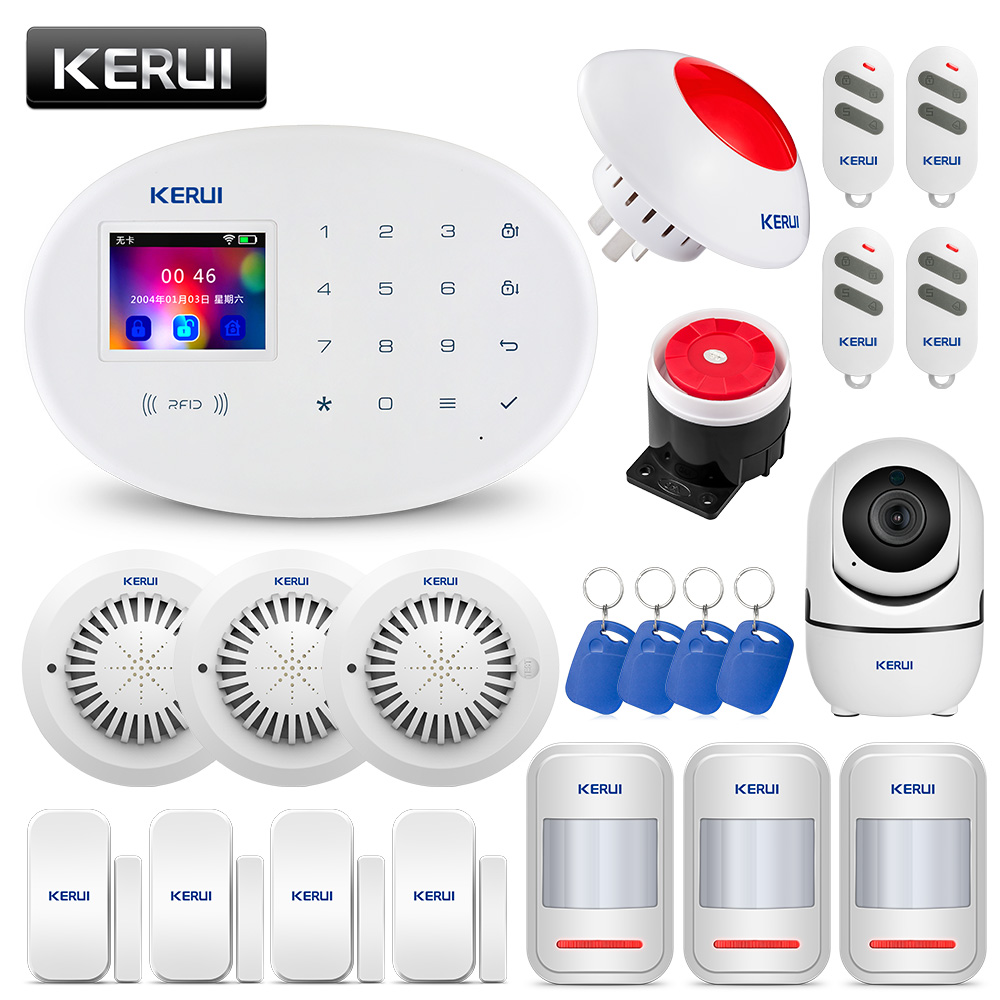 KERUI W20 Home Security <font><b>Alarm</b></font> System TFT Touch Panel APP Control <font><b>Burglar</b></font> <font><b>Alarm</b></font> SystemSmoke Sensor GSM <font><b>WiFi</b></font> Connection 2.4 inch image