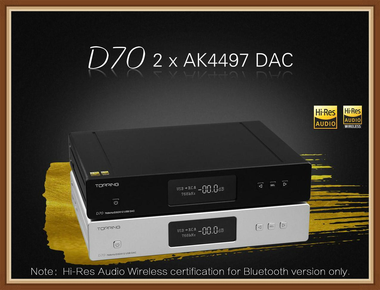 <font><b>TOPPING</b></font> <font><b>D70</b></font> D70S Bluetooth Full Balanced DAC Amplifier XMOS XU208 AK4497 USB DAC Audio Amp Decoder DSD512 Optical Caoxial Input image