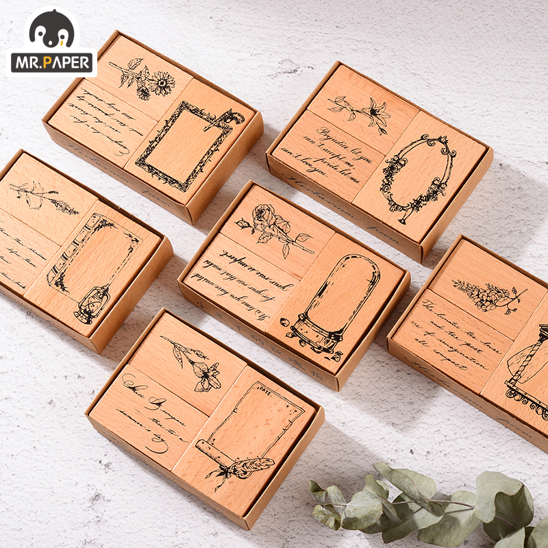 Mr.Paper 6 Designs Vintage Flowers Wooden Rubber Inkpad Handmade DIY Craft Oil Based Inkpad Rubber Stamps Scrapbooking Inkpad