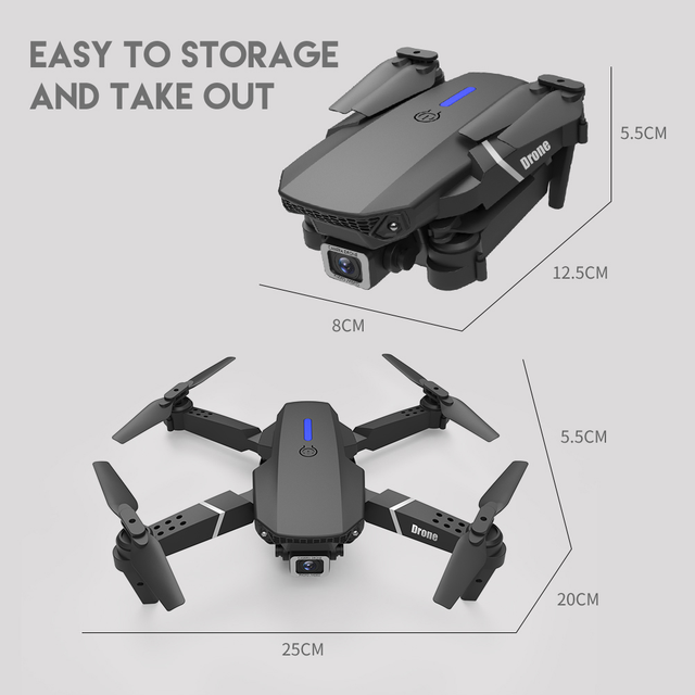 LSRC new RC drone E525 WIFI FPV and wide-angle high-definition 4K dual camera height keep foldable quadrotor dron gift toy